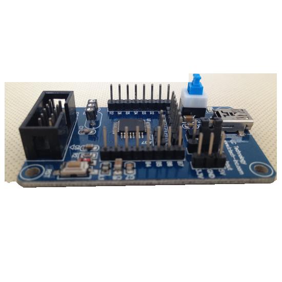 1.Microcontroller chip.ATmega168(V). 2.MiniUSB interface or pin power supply, on-board AMS1117-3.3 chip.
